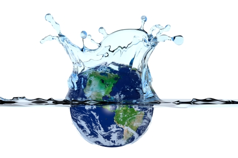 Planet Earth splashing in water